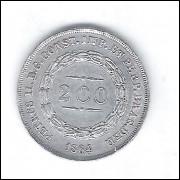 1864 - 200 Réis, prata, Soberba+++ , Brasil-Império, Dom Pedro II.
