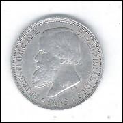 1868 - 200 Réis, prata, soberba+++ , Brasil-Império, Dom Pedro II.