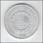 1863 - 2000 Réis, prata, Sob. , Brasil-Império, Dom Pedro II.