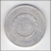 1865 - 2000 Réis, prata, Sob. , Brasil-Império, Dom Pedro II.