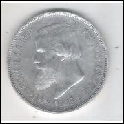 1888 - 2000 Réis, prata, soberba , Brasil-Império, Dom Pedro II.