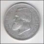 1889 - 2000 Réis, prata, mbc/s , Brasil-Império, Dom Pedro II.