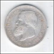 1876 - 1000 Réis, prata, mbc/s , Brasil-Império, Dom Pedro II.