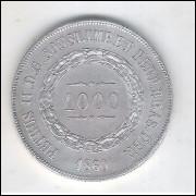 1860 - 1000 Réis, prata, Soberba+, Brasil-Império, Dom Pedro II.
