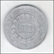 1861 - 1000 Réis, prata, mbc+, Brasil-Império, Dom Pedro II.
