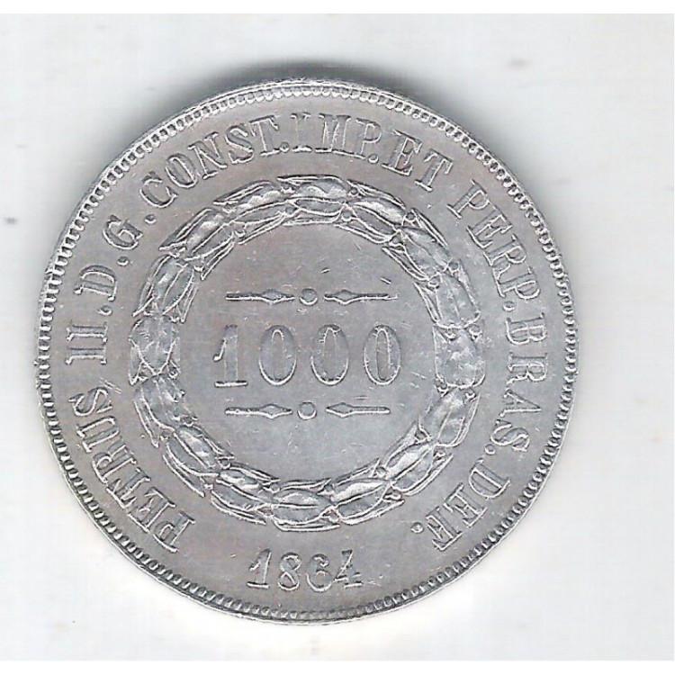 1864 - 1000 Réis, prata, S/FC, Brasil-Império, Dom Pedro II.
