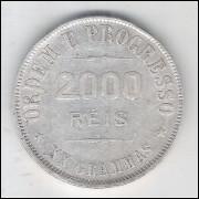 1911 - 2000 Réis, prata, mbc, Brasil-República.