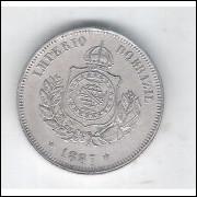 1887 - Brasil-Império, Dom Pedro II, 50 Réis, cuproníquel, soberba.