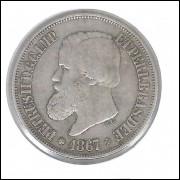 1867 - 500 Réis, prata, mbc, Brasil-Império, Dom Pedro II.