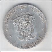 Panamá, 5 Balboas, 1972, prata .900 peso 35 g diâmetro 38,8 mm. Comemorativa FAO