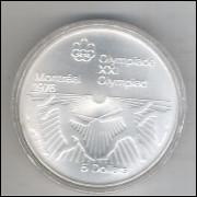 Canadá, 5 Dollars, 1976, prata .925 peso 24,3 g diâmetro 38 mm. Comemorativa Olimpíadas