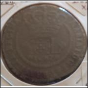 1787 - XL Réis, cobre, carimbo escudete, mbc, Brasil-Colônia, D. Maria I.