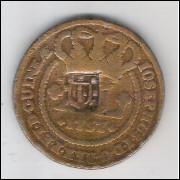 1757 - XL Réis, com carimbo de escudete, cobre, mbc+, Brasil-Colônia, D. José I.