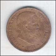 1877 - 40 Réis, bronze, mbc, Brasil-Império, D. Pedro II.