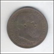 1880 - 40 Réis, bronze, mbc, Brasil-Império, D. Pedro II.