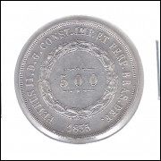 1855 - 500 Réis, prata, s/fc, Brasil-Império, Dom Pedro II.