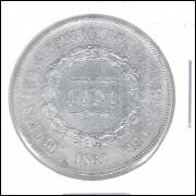 1862 - 1000 Réis, prata, mbc, Brasil-Império, Dom Pedro II.