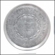 1864 - 1000 Réis, prata, mbc+, Brasil-Império, Dom Pedro II.