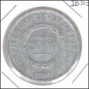 1853 - 2000 Réis, prata, soberba , Brasil-Império, Dom Pedro II.