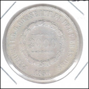 1856 - 2000 Réis, prata, mbc , Brasil-Império, Dom Pedro II.