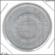 1856 - 2000 Réis, prata, soberba , Brasil-Império, Dom Pedro II.
