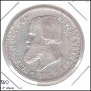 1875 - 2000 Réis, prata, soberba , -LUSTER F.- DUPLO, Brasil-Império, Dom Pedro II.