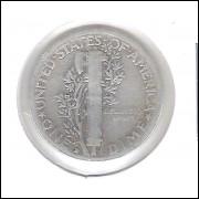 Estados Unidos Dime 1929 D Prata .900 Mbc Mercúrio 18mm