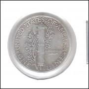 Estados Unidos Dime 1939 D Prata .900 Mbc Mercúrio 18mm