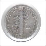 Estados Unidos Dime 1943 Prata .900 Mbc Mercúrio 18mm