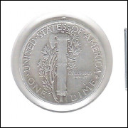 Estados Unidos Dime 1945 Prata .900 Mbc Mercúrio 18mm