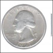 Estados Unidos 1/4 Dollar 1951 Prata .900 Mbc/s 24mm - 6,25 g