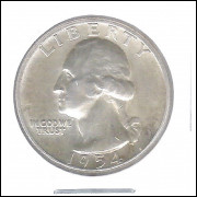 Estados Unidos 1/4 Dollar 1954 Prata .900 Mbc/s 24mm - 6,25 g