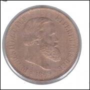 1869 - Brasil-Império, Dom Pedro II, 20 Réis COM PONTO, bronze, mbc+