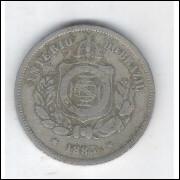 1883 - Brasil-Império, Dom Pedro II, 100 Réis, cuproníquel, bc.