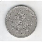 1883 - Brasil-Império, Dom Pedro II, 100 Réis, cuproníquel, soberba.