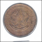 1908 - Brasil, 20 Réis, bronze, mbc.