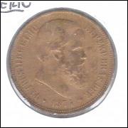 1874 - 40 Réis, bronze, mbc, Brasil-Império, D. Pedro II.