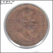 1875 - 40 Réis, bronze, mbc, Brasil-Império, D. Pedro II.