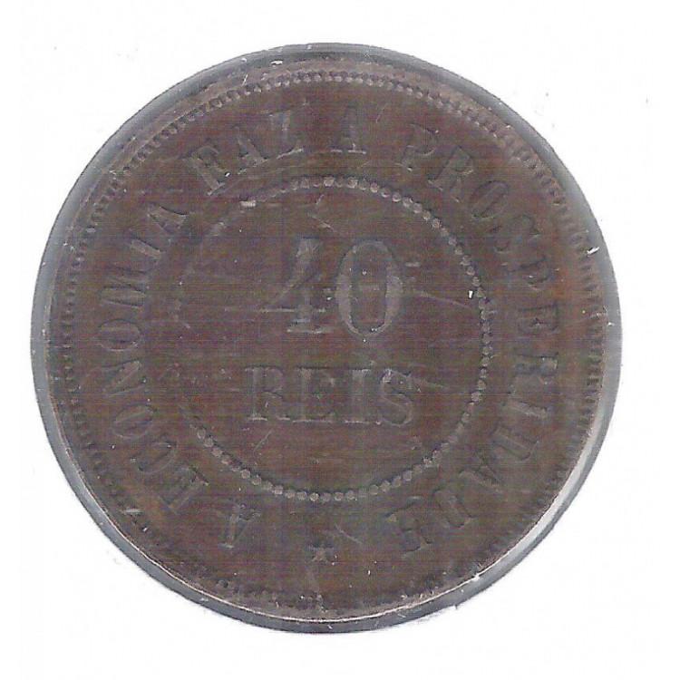 1889 - Brasil, 40 Réis, bronze, S/FC