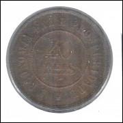 1893 - Brasil, 40 Réis, bronze, mbc.