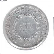 1858 - 500 Réis, prata, soberba, Brasil-Império, Dom Pedro II.