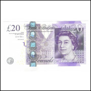 Inglaterra, 20 Pounds 2006, FE. Rainha Elizabeth II. Adam Smith.