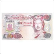 Gibraltar, 10 Pounds 2002, mbc. Rainha Elizabeth II.