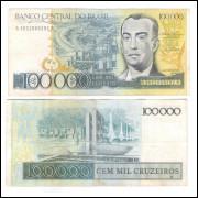 C176 - 100.000 Cruzeiros, 1985, Dilson Funaro e Fernão C. B. Bracher, mbc. Juscelino Kubistschek.