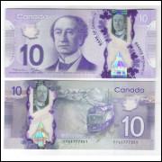 Canada - (nova) 10 Dollars, 2013, fe. Polímero. Personalidade, Sir John A. Macdonald. Trem, ferrovia