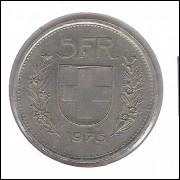Suíça, 5 Francs, 1975, mbc.