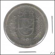 Suíça, 5 Francs, 1981, mbc.
