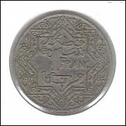 Marrocos, 1 Franc 1921, mbc, cuproníquel, 27 mm.
