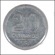 1958 - 20 Centavos, alumínio, FC.