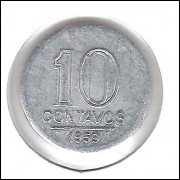 1959 - 10 Centavos, alumínio, S/FC.